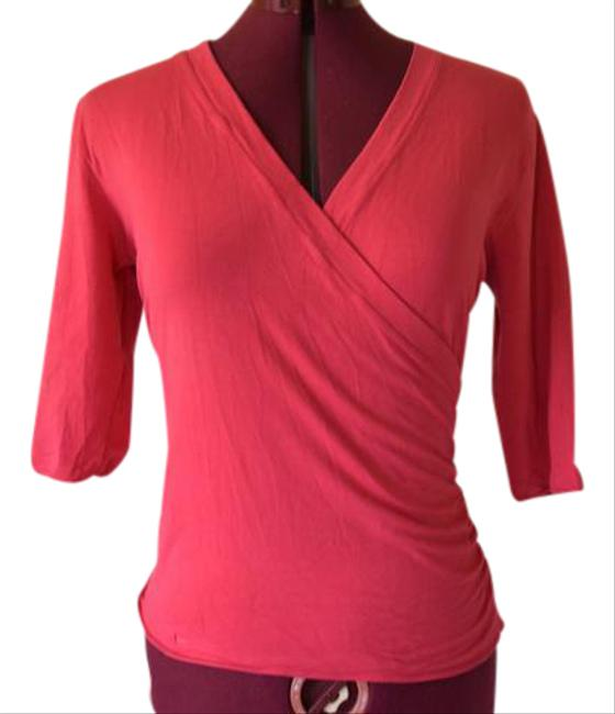 Armani Collezioni Stretchy V-neck 3/4 Sleeve Cotton Top pink