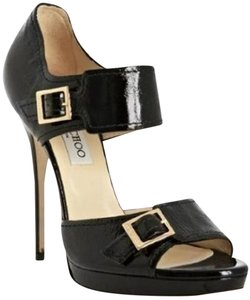 Jimmy Choo Platform Patent Leather Open Toe Quaker Buckled Black Pumps