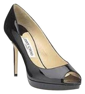 Jimmy Choo Platform Patent Leather Peep Toe Luna Navy Blue Pumps