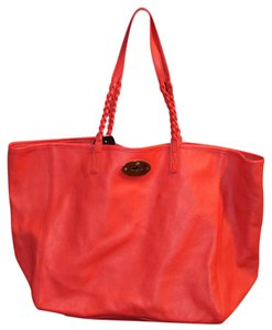 Mulberry Leather Tote in red