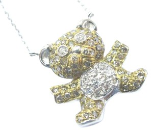 Other 18Kt Multi Color Diamond Bear Pendant Necklace 1.10Ct