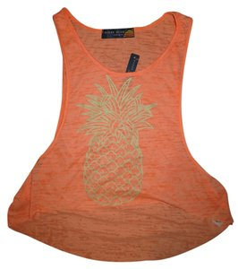 Ocean Drive Clothing Crop Pineapple Burnout Neon Top Orange