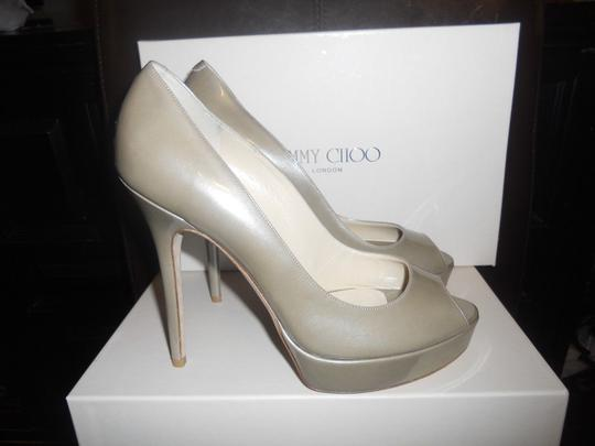 Jimmy Choo Platform Patent Leather Peep Toe Crown Khaki Beige Pumps
