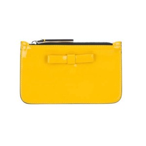 Auth Marni yellow leather bow top pouch $295 Wristlet in yellow
