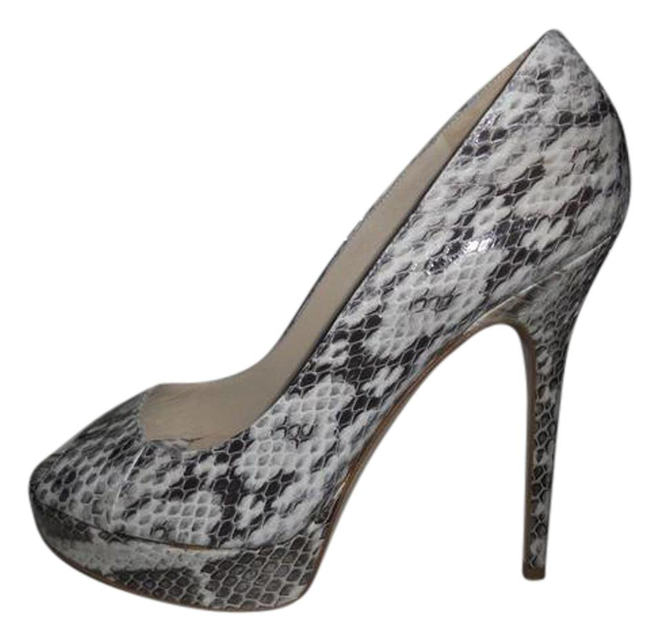 43afd777e842 Jimmy Choo Crown Snake Embossed Leather Open Toe Platform Heels Pumps
