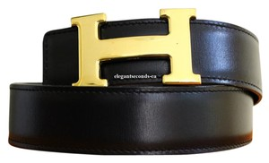 Hermès Black and Navy Reversible 32mm Constance Belt