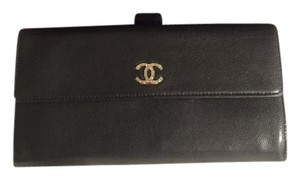 Chanel Chanel Bifold Long Wallet Caviar, Black w Box and card, CC Sevruga