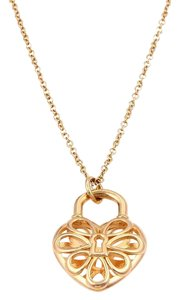 Tiffany & Co. 18kt Rose Gold Floral Filigree Lock Heart Pendant & Chain