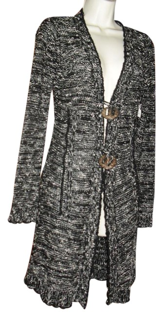 Preload https://item1.tradesy.com/images/bcbgmaxazria-black-gray-white-bcbg-max-azria-sweater-long-cardigan-button-front-mid-length-short-cas-21067470-0-1.jpg?width=400&height=650