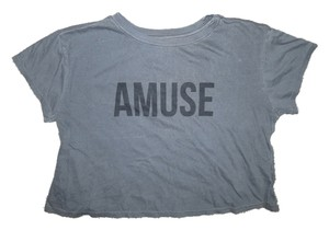 Amuse Society Crop Graphic T Shirt Gray