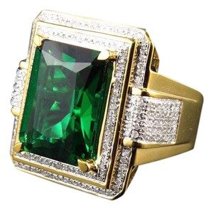 Other Royal Emerald Cut Created Emerald Genuine Diamond Ring 0.50ct