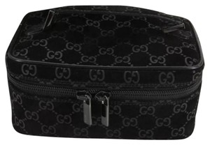 Gucci Cosmetic Pouch With Box Black GG Logo Suede Leather Handbag Purse