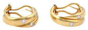 Tiffany & Co. Etoile Diamond 18K Yellow Gold & Platinum Double Band Hoop Earrings