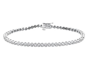 Other .925 Sterling Silver 1 Row Prong White Diamond Tennis Bracelet .50ct
