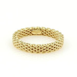 Tiffany & Co. Somerset 18k Yellow Gold Mesh Design 3.5mm Band Ring Size 4.75