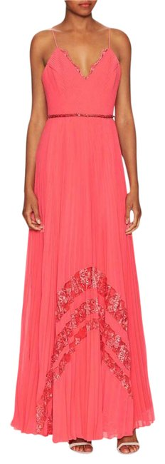 Preload https://img-static.tradesy.com/item/21067649/badgley-mischka-coral-pleated-inset-lace-gown-long-formal-dress-size-4-s-0-2-650-650.jpg