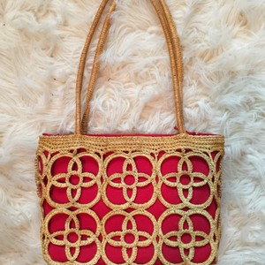 Eric Javits Classic Summer Tote in Tan/ Red
