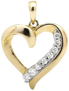 Other Ladies Heart Shape .75 Inch Genuine Diamond Pendant Charm 0.25ct
