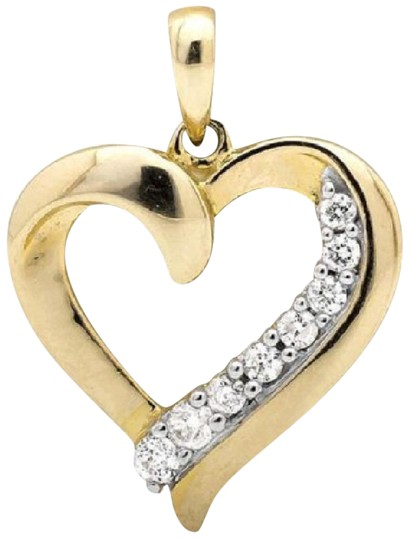 Preload https://item2.tradesy.com/images/10k-yellow-gold-ladies-heart-shape-75-inch-genuine-diamond-pendant-025ct-charm-21067711-0-1.jpg?width=440&height=440