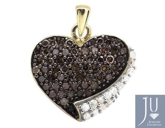 Other Ladies Brown White Diamond Heart Shape 1/2