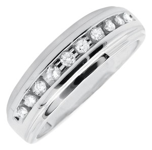 Other Mens 1 Row Channel Set Genuine Diamond Wedding Ring Band 0.25ct