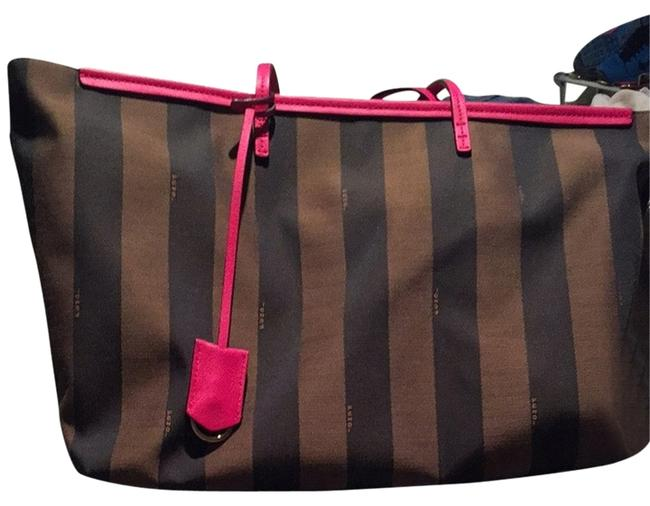 Fendi Pequin Roll Tobacco Pink Leather Tote Fendi Pequin Roll Tobacco Pink Leather Tote Image 1