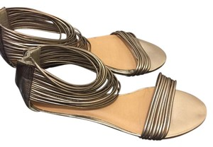 Kelsi Dagger Strappy Low Wedge Leather pewter Sandals