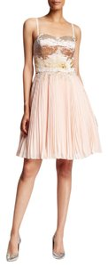 Ted Baker Ws4w-gde2-calita Beaded Fringe Waist Glass Beaded Bodice Strapless Accordion Pleating Dress
