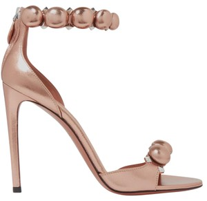 ALAÏA Alaia Studded Metallic Rose gold Sandals