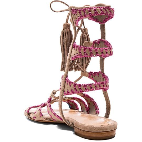 SCHUTZ Music Festival Embroidered Suede Lace Up Fringe Putty/Pink Sandals