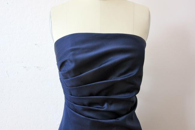 JS Boutique Bridesmaids Blue Satin Strapless Ruched Dress