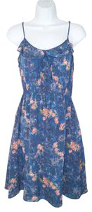 Anthropologie short dress Lil Silk Ruffled Floral Watercolor on Tradesy
