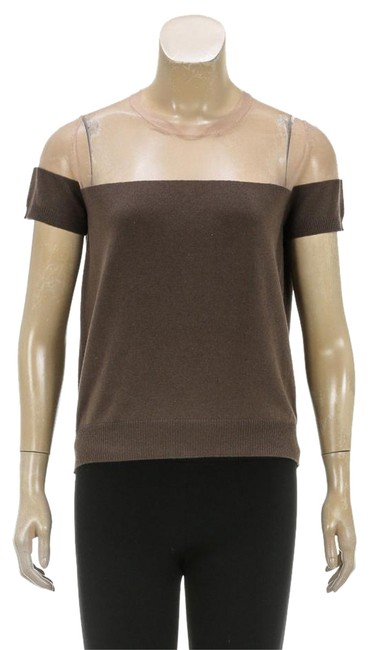 Preload https://item5.tradesy.com/images/marc-jacobs-taupe-sheer-detail-short-sleeve-s-209781-blouse-size-4-s-21067999-0-1.jpg?width=400&height=650