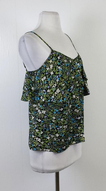 Tibi Color Floral Print Silk Spaghetti Strap Top Multi