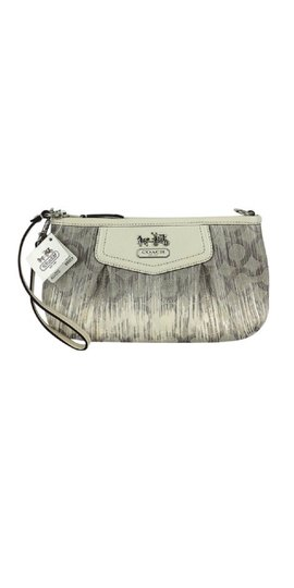 Coach Navy Monogram Wristlet in Silver Grey & Ivory