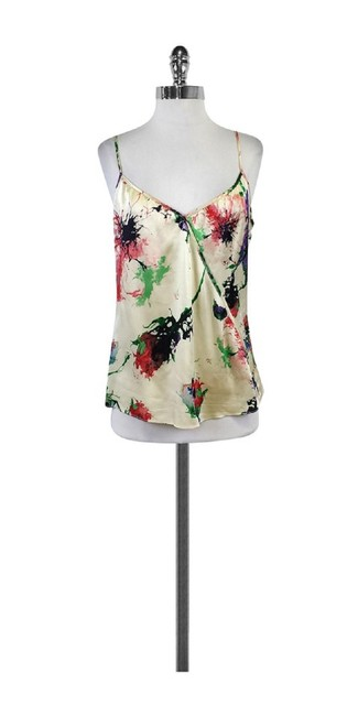Parker Cream Red Green Splatter Print Top Multi