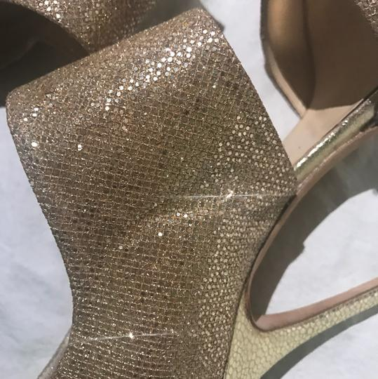 Jimmy Choo Vintage Glitter Leather Metallic Designer gold Sandals