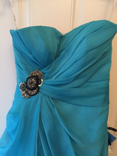Enzoani Turquoise Organza Love By C4 Retro Bridesmaid/Mob Dress Size 4 (S)