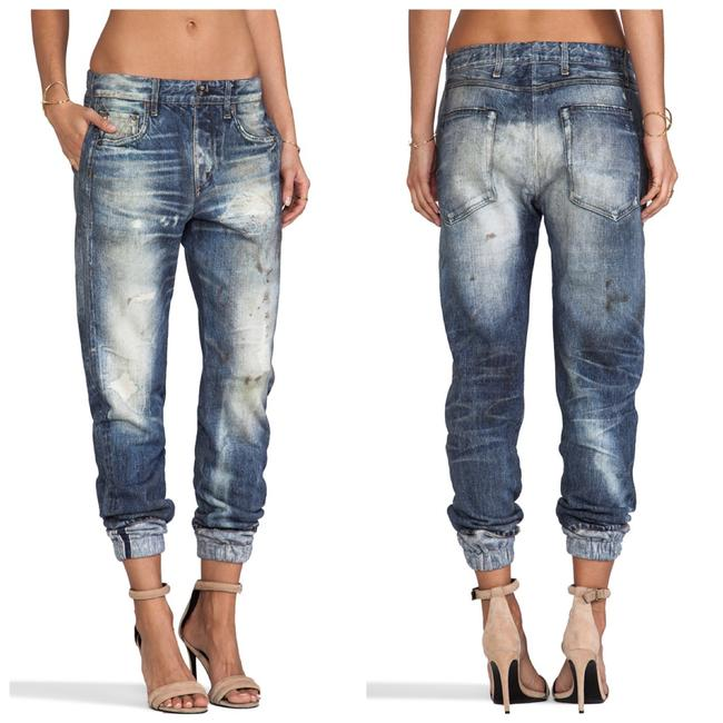 Item - Blue Distressed Pajama Relaxed Fit Jeans Size 28 (4, S)