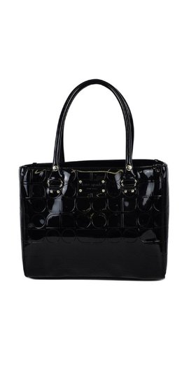 Kate Spade Patent Leather Monogram Tote in Black