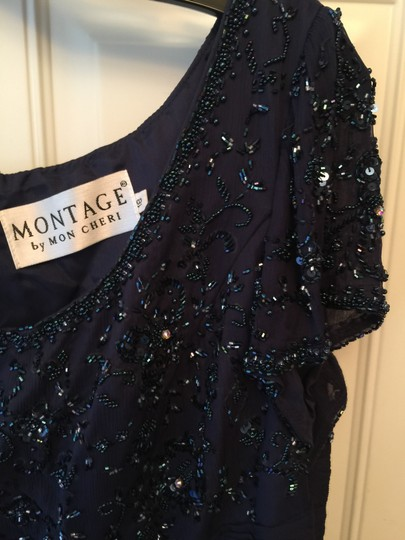 Montage Navy Chiffon & Beading Feminine Bridesmaid/Mob Dress Size 18 (XL, Plus 0x)