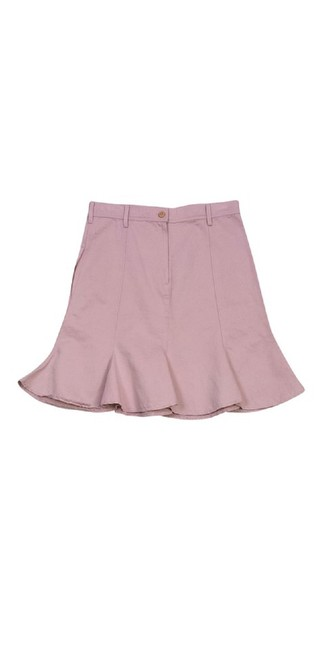 See by Chloé Flared Cotton Linen Skirt Pink