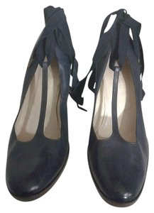 Dries van Noten Black Leather Ankle Strap Made In Italy BLUE Pumps