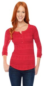 Splendid Thermal Henley Red Classic Sweater