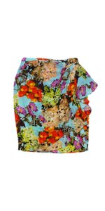 Lafayette 148 New York Multi Color Floral Print Silk Skirt