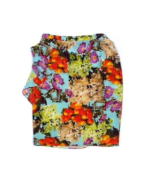 Lafayette 148 New York Color Floral Print Silk Skirt Multi