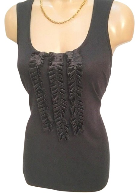 Preload https://item2.tradesy.com/images/banana-republic-black-ruffle-front-tank-topcami-size-8-m-21068246-0-1.jpg?width=400&height=650