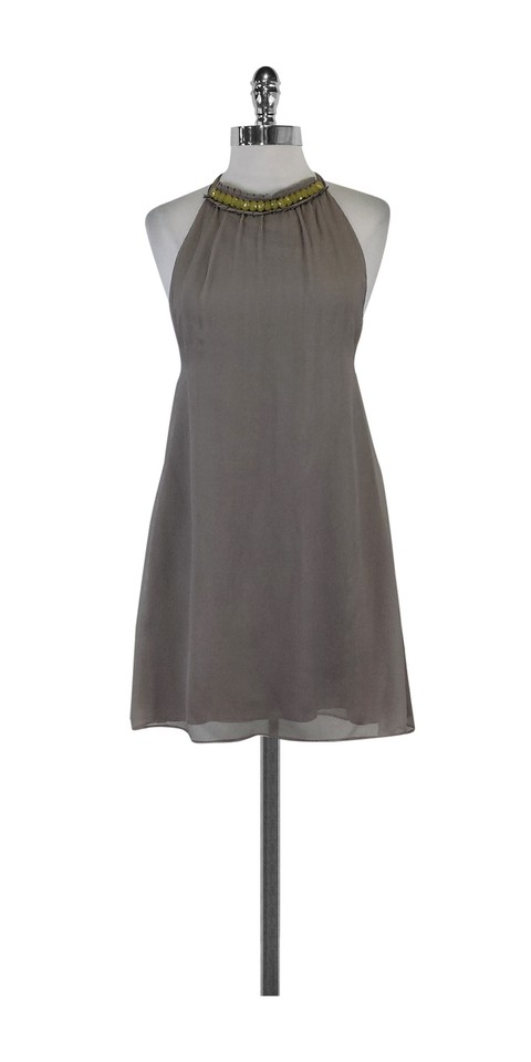 bfd03c764635 Alice + Olivia Taupe Silk Halter Shift Short Casual Dress Size 4 (S ...