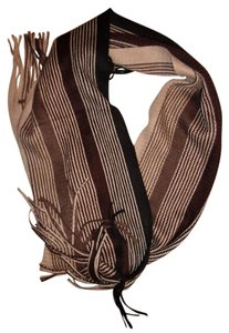 Other Striped Ombre Knit Fringe Ends Scarf