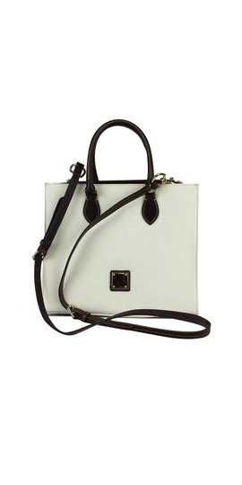 Preload https://item1.tradesy.com/images/dooney-and-bourke-textured-janine-white-brown-leather-satchel-21068290-0-0.jpg?width=440&height=440